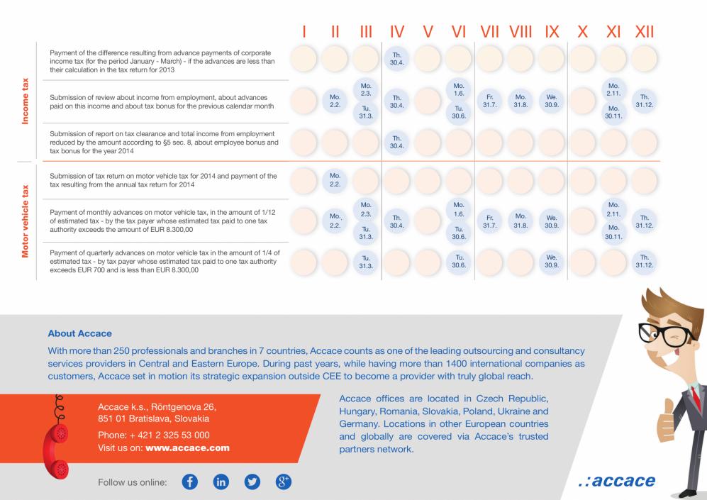 Accace tax calendar 2015 Slovakia (II)