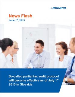 Partial tax audit protocol will become effective as of July 1st , 2015 in Slovakia