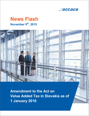 Amendment to the Act on Value Added Tax in Slovakia as of 1 January 2016