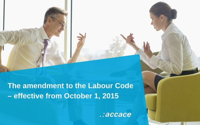 The amendment to the Labour Code – effective from October 1, 2015