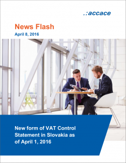 New form of VAT Control Statement in Slovakia as of April 1, 2016 | News Flash