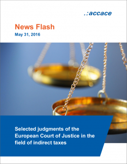 Selected judgments of the European Court of Justice in the field of indirect taxes | News Flash
