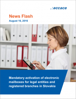 Mandatory activation of electronic mailboxes for legal entities and registered branches in Slovakia | News Flash