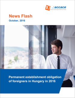 Permanent establishment obligation of foreigners in Hungary in 2016 | News Flash