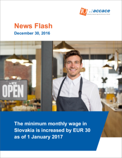 The minimum monthly wage in Slovakia is increased by EUR 30   as of 1 January 2017 | News Flash
