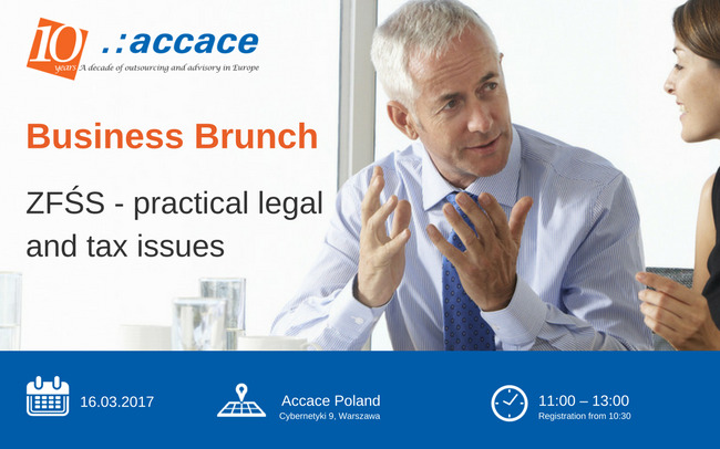 """Business Brunch """"ZFŚS - practical legal and tax issues"""" 