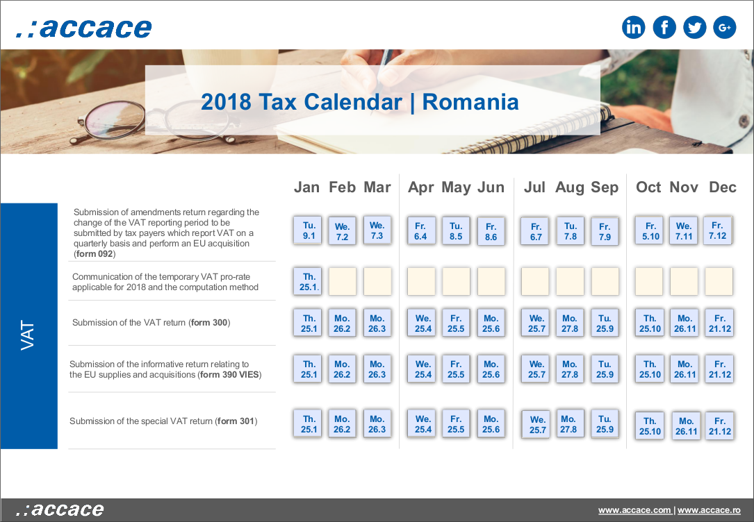 2018 tax calendar romania accace outsourcing and advisory services