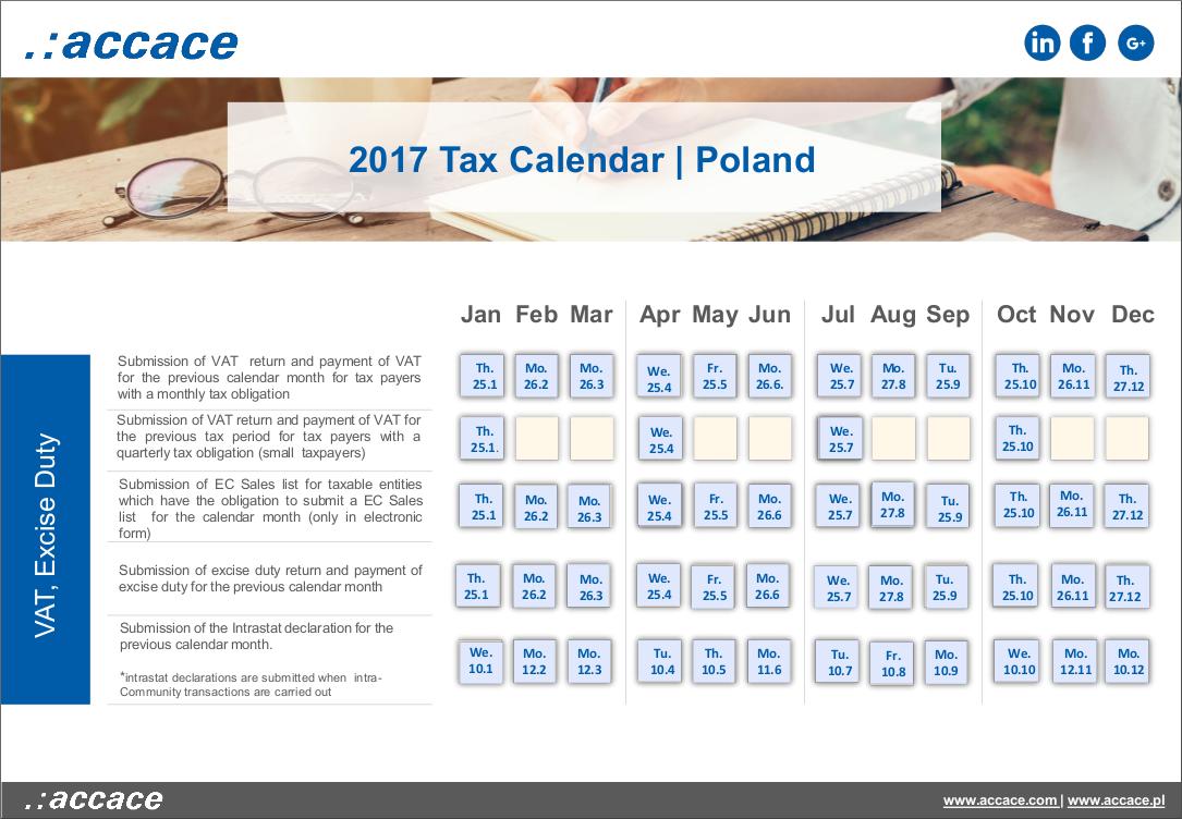 2018 Tax calendar Poland