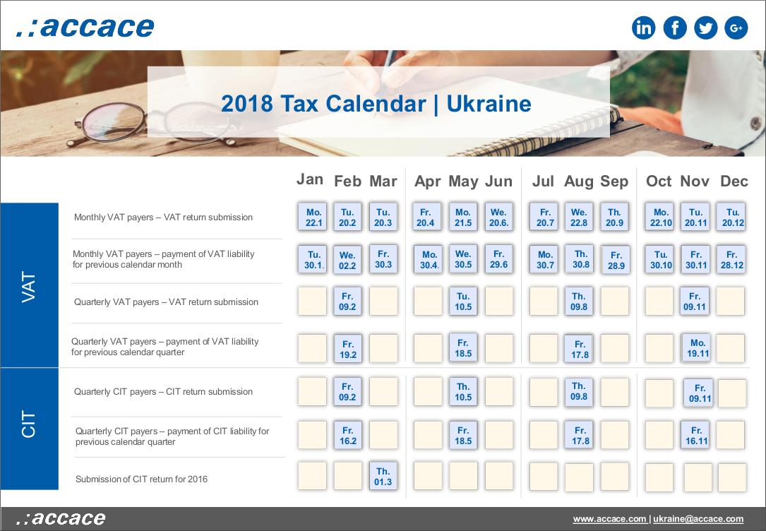 2018 Tax calendar Ukraine