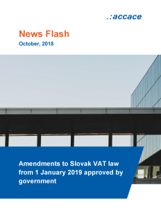 Amendments to Slovak VAT law from 1 January 2019 approved by government