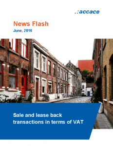 Sale and lease back transactions in terms of VAT │News Flash Accace